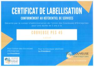 Certificat de labellisation PES 45